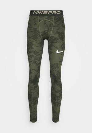 Leggings - medium olive/white