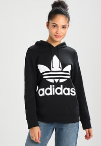 adidas Originals - ADICOLOR TREFOIL HOODIE - Sweat à capuche - black - 0