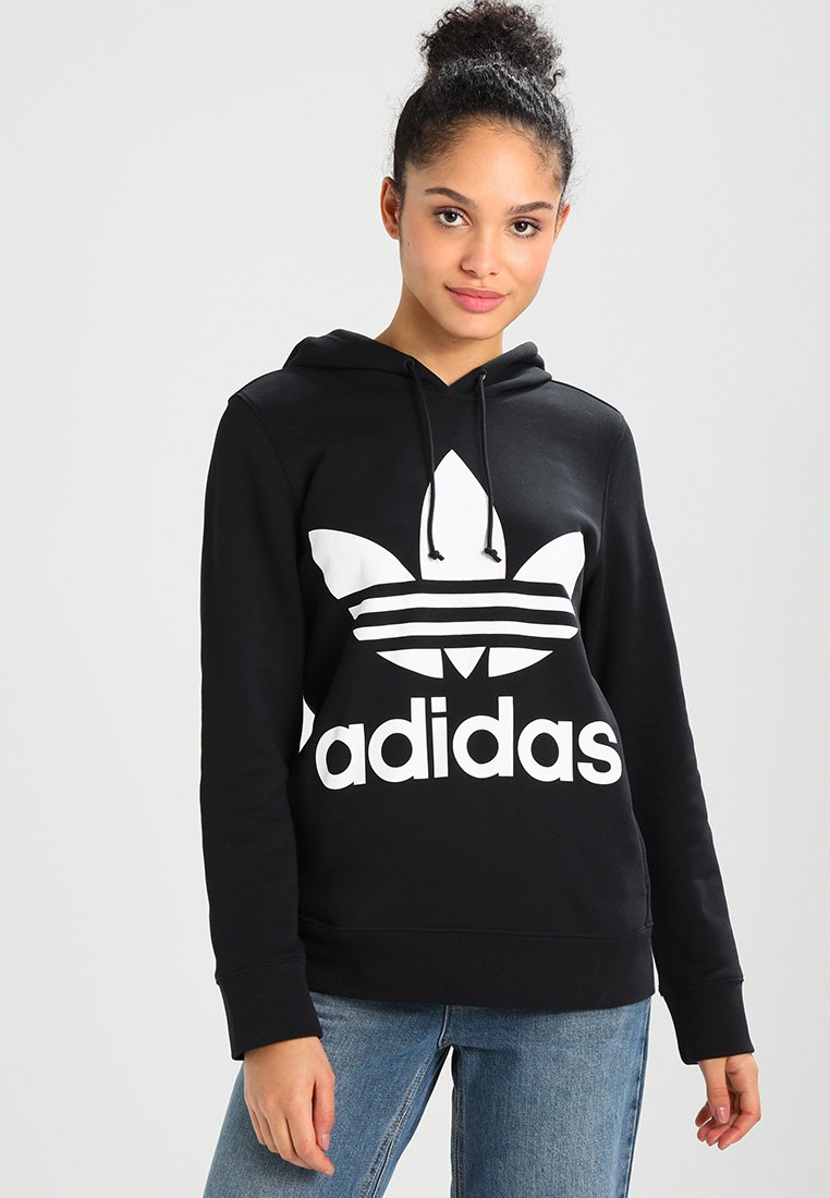 adidas Originals - ADICOLOR TREFOIL HOODIE - Sweat à capuche - black