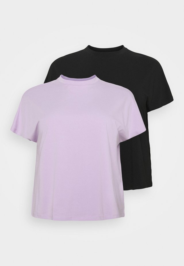 NMHAILEY  2 PACK - T-shirt basic - black/orchid bloom