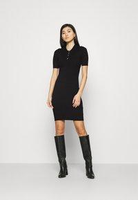 Anna Field - QUARTER SLEEVES POLO MINI DRESS FITTED - Shift dress - black - 0