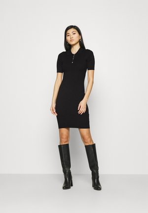 QUARTER SLEEVES POLO MINI DRESS FITTED - Kotelomekko - black