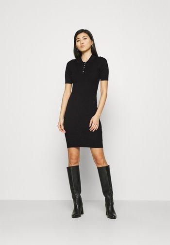 QUARTER SLEEVES POLO MINI DRESS FITTED - Shift dress - black