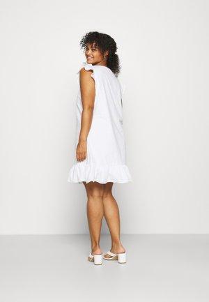 SLEEVELESS FRILL MINI DRESS - Freizeitkleid - white