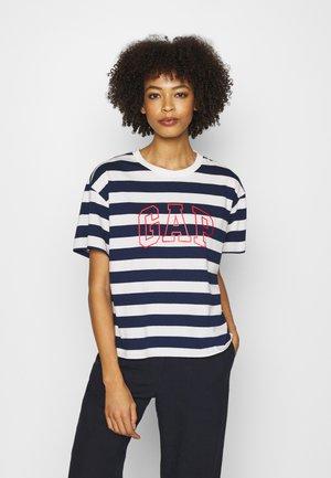 EASY TEE - Print T-shirt - navy/white