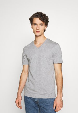 V-NECK CHEST LOGO - Basic T-shirt - grey