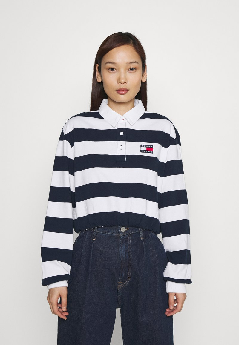 Tommy Jeans - STRIPED RUGBY - Polo - twilight navy