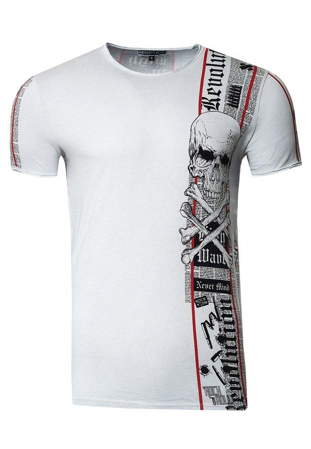 IM VERWASCHENEN LOOK - Print T-shirt - grau