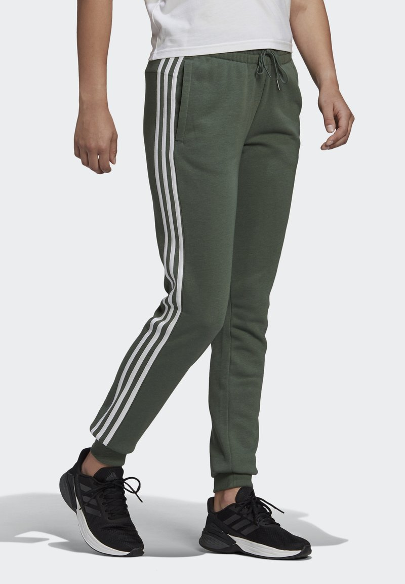 adidas Performance - ESSENTIALS FRENCH TERRY STRIPES PANTS - Tracksuit bottoms - greoxi/white