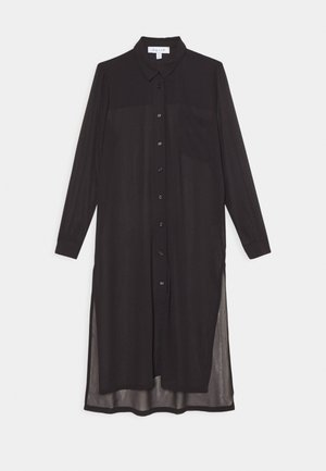 LONGLINE SHIRT - Button-down blouse - black