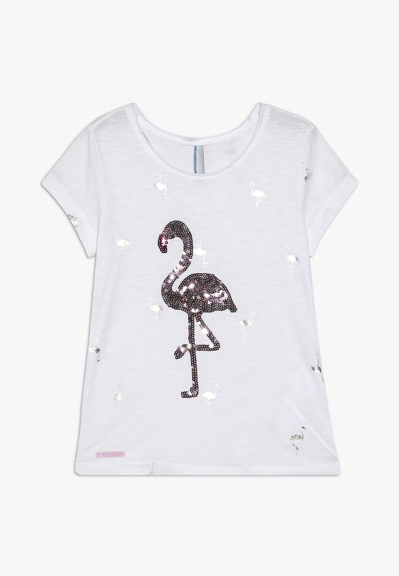 Blue Effect - GIRLS PAILLETTEN FLAMINGO - Camiseta estampada - schneeweiss