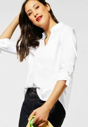 MIT TURN-UP ÄRMELN - Button-down blouse - weiß