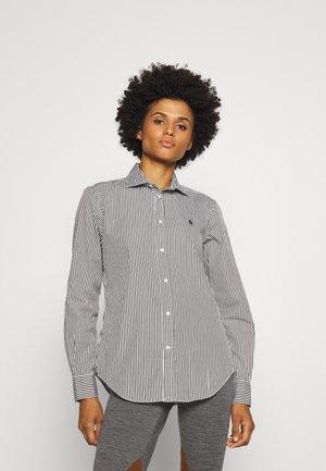 GEORGIA LONG SLEEVE - Button-down blouse - dark loden/white