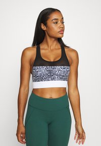 Hunkemöller - THE CLASSIC PRINT - Medium support sports bra - black - 0