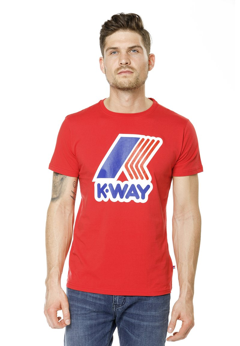 K-Way - PETE MACRO LOGO - Print T-shirt - red