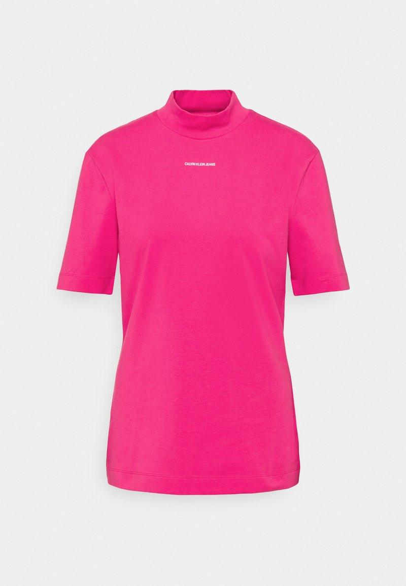 Calvin Klein Jeans - MICRO BRANDING STRETCH MOCK NECK - Print T-shirt - party pink
