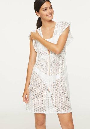 RUFFLE CROCHET TUNIC - Beach accessory - white