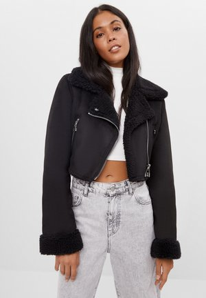 CROPPED-DOUBLEFACE - Leather jacket - black