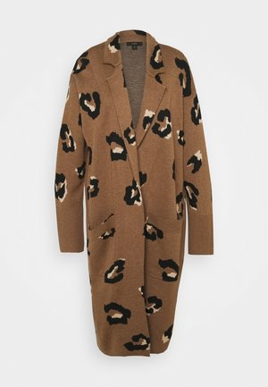 LEOPARD RORY OPEN COAT - Strickjacke - dark camel/sand/black