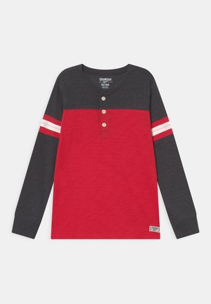 COLORBLOCK HENLEY - Long sleeved top - red