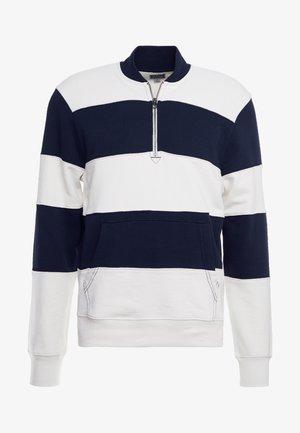 PIECED FRENCH TERRY HALF ZIP  - Sweatshirt - navy/ivory