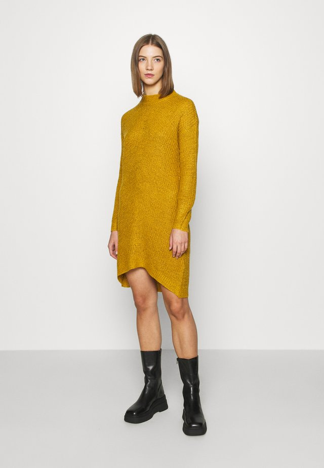 JDYMIGGY MEGAN HIGH NECK DRESS - Jumper dress - harvest gold/black ply