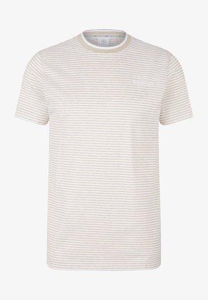 RAFAEL - Print T-shirt - sand/weiß