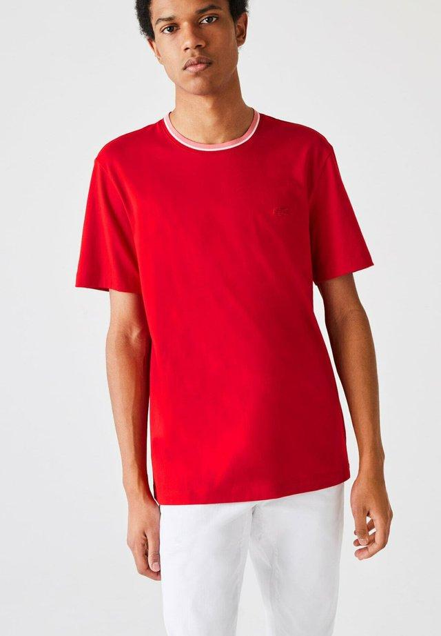 T-shirt basique - rot / weiß / rosa