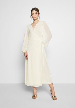 FLORAL LONG SLEEVE WRAP DRESS - Vestito lungo - pale yellow