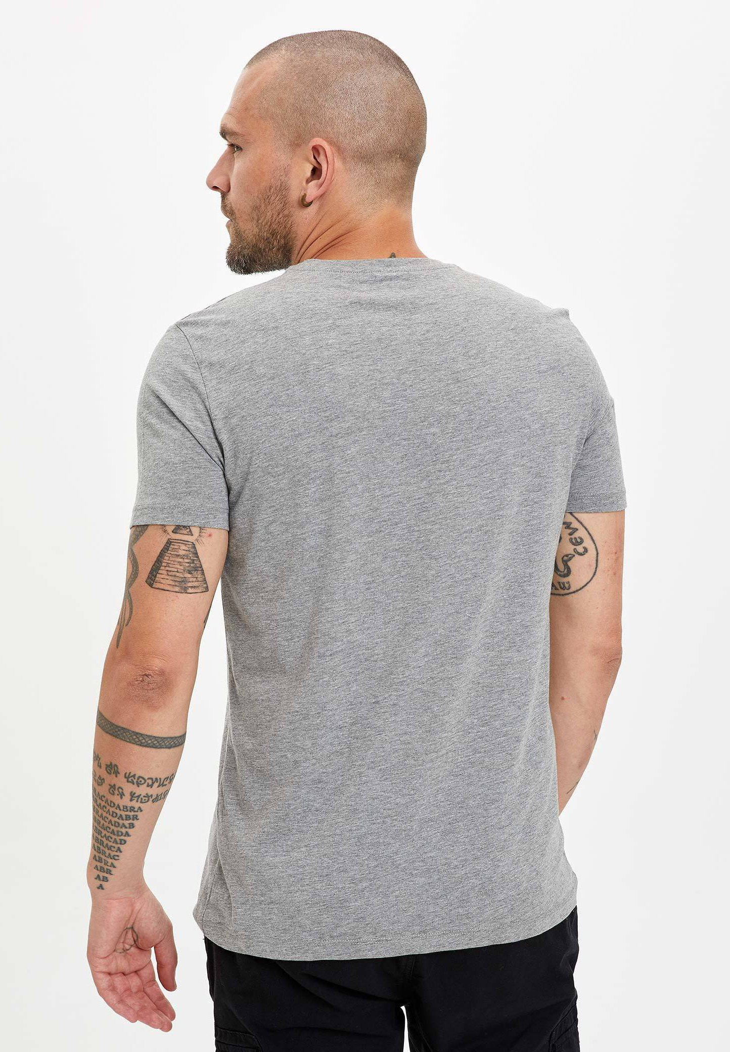 DeFacto Print T-shirt - grey 62Siw