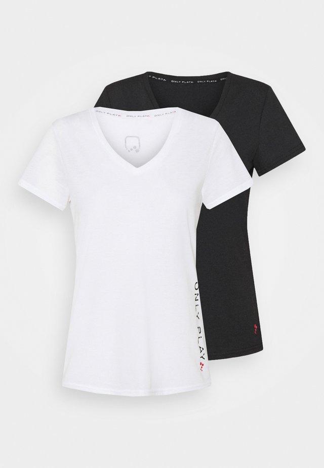 ONPPERFORMANCE V-NECK TEE 2 PACK - T-shirt print - black/white
