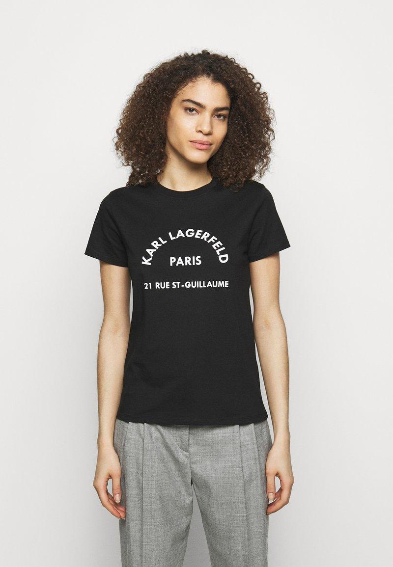 KARL LAGERFELD - ADDRESS LOGO TEE - T-shirt z nadrukiem - black