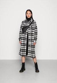 JDY - UMALA LONG CHECK JACKET - Classic coat - black - 1