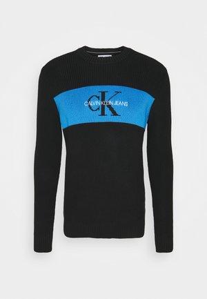 BOX STRIPE SWEATER - Stickad tröja - black