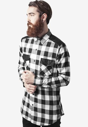SIDE ZIP LEATHER SHOULDER FLANELL - Camicia - black/white