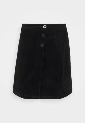 WRAP BUTTON SKIRT - Mini skirt - black