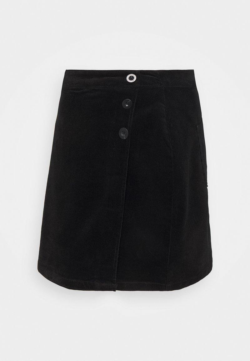 Dorothy Perkins - WRAP BUTTON SKIRT - Mini skirt - black