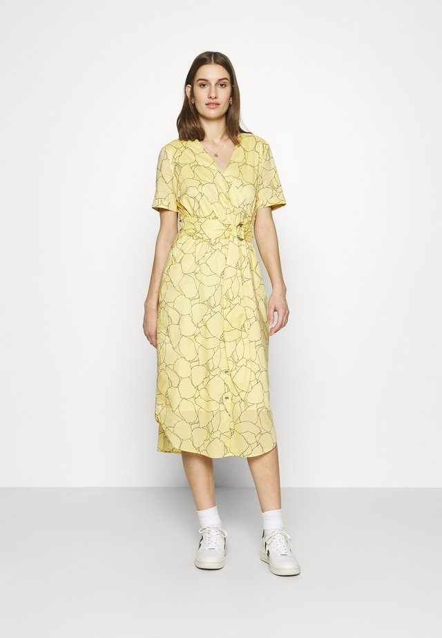 VOILE WRAP MIDI DRESS - Day dress - muted yellow