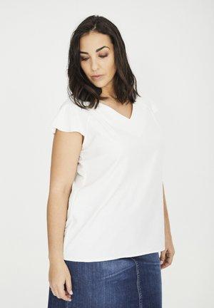 MIT WEITEN ÄRMELN UND GLANZEFFEKT - T-shirt basic - weiß