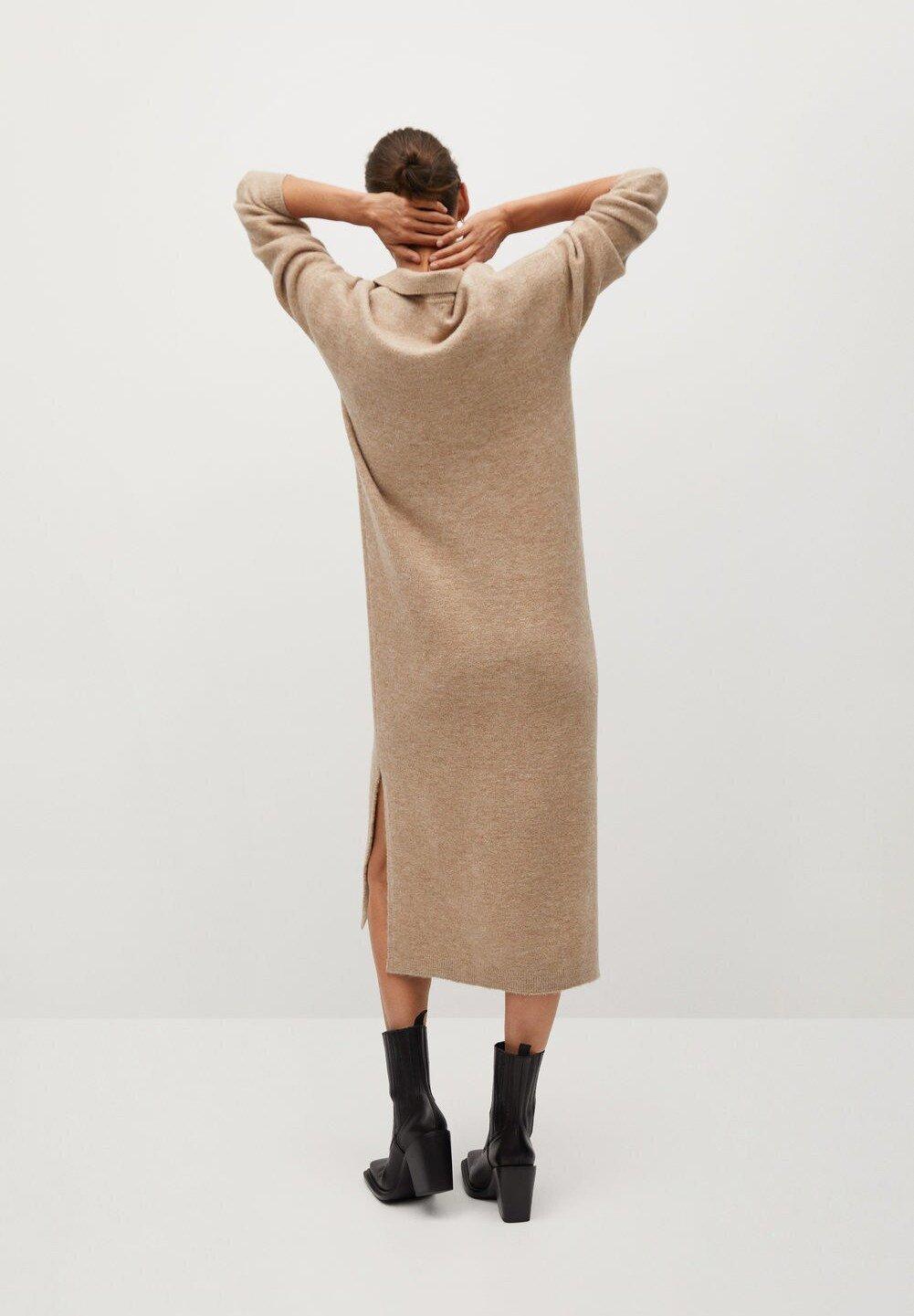 Mango POLIN Stickad klänning marron moyen Zalando.se