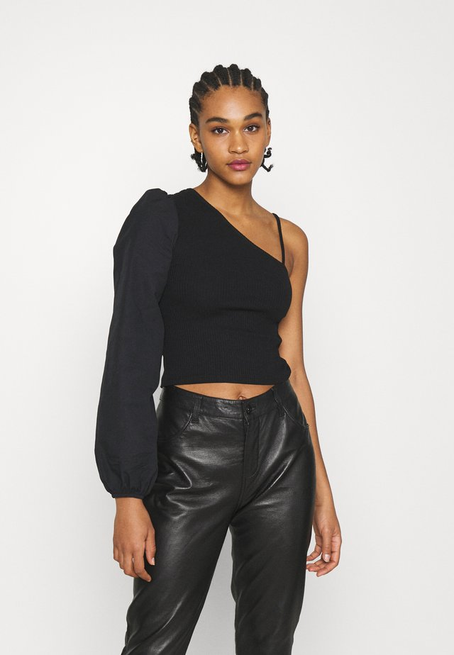 ONE SHOULDER PUFF SLEEVE - Toppe - black