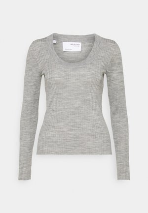 SLFCOSTA NEW DEEP U-NECK - Jumper - light grey melange