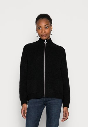 LONG SLEEVE CARDIGAN WITH ZIPPER AND STAND COLLAR - Cardigan - black