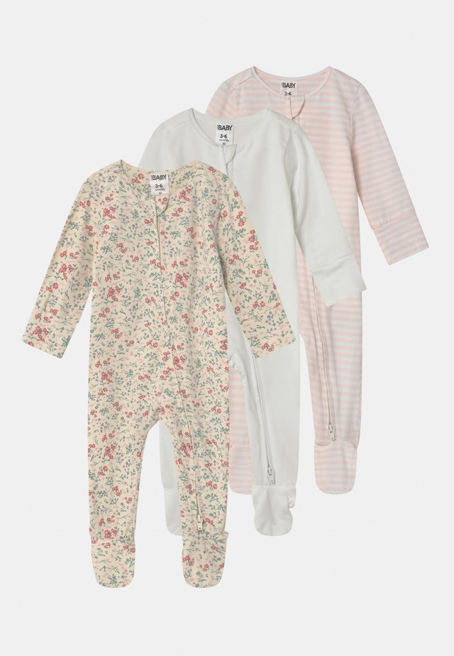 LONG SLEEVE ZIP 3 PACK - Sleep suit - maude/vanilla/crystal pink