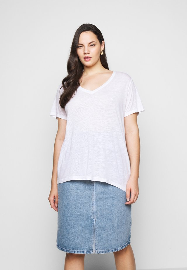 V NECK TEE - T-paita - bright white