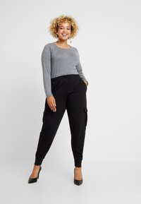 Missguided Plus - UTILITY POCKET HIGH WAISTED - Tracksuit bottoms - black - 2
