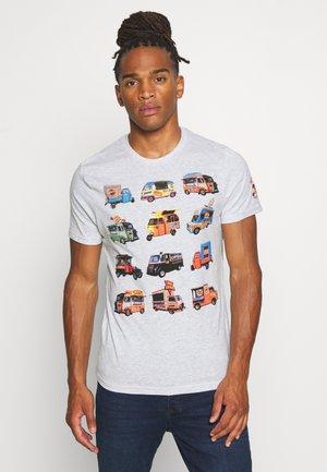 FOODX - T-shirt med print - ecru marl