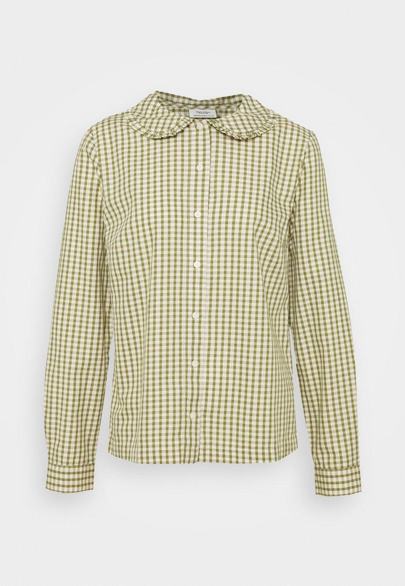 Marc O'Polo DENIM - BLOUSE FRILL DETAIL AT COLLAR - Button-down blouse - multi/fresh herb