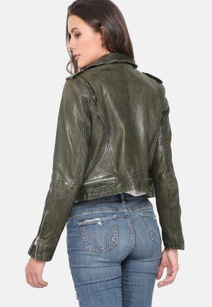 KYOTO - Leather jacket - khaki