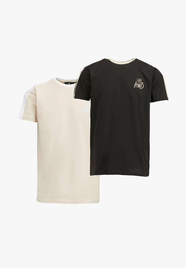 2PACK - T-shirt con stampa - oatmeal / black
